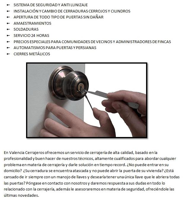 Servicios de calidad con Cerrajeros Carlet 24 horas
